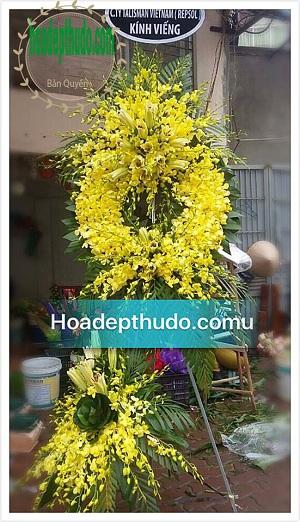 Vòng hoa kiểu sài gòn hai tầng sử dụng 100% lan vàng thái Lan